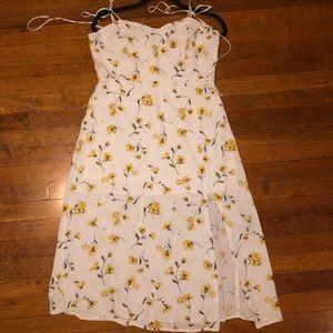 White & Yellow Midi Sun Dress w. Slit 🌼🌻